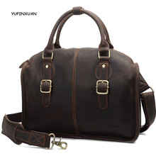 YUPINXUAN Europe Vintage Crazy Horse Leather Handbags for Men Cow Leather Shoulder Bags Retro 14″ Laptop Messenger Bag Russia