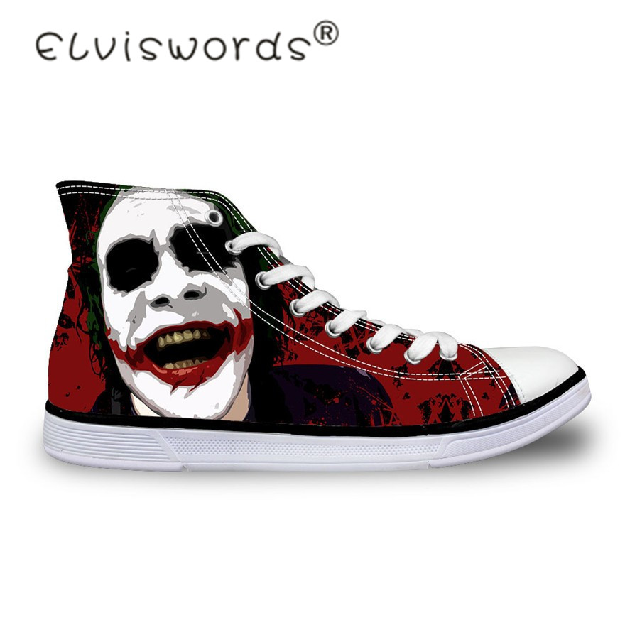 ELVISWORDS Men Casual Black Shoes Custom Joker Hand Printed Canvas Shoes Student High Top Lace Up Teenager Flats Adult Plimsolls men s casual lace up letters printed jogger pants