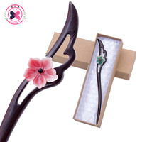Mother S Day Gifts Headwear Classical Hand Carved Ebony Imitation Jade Flower Shaped Hair Sticks Hairpin
