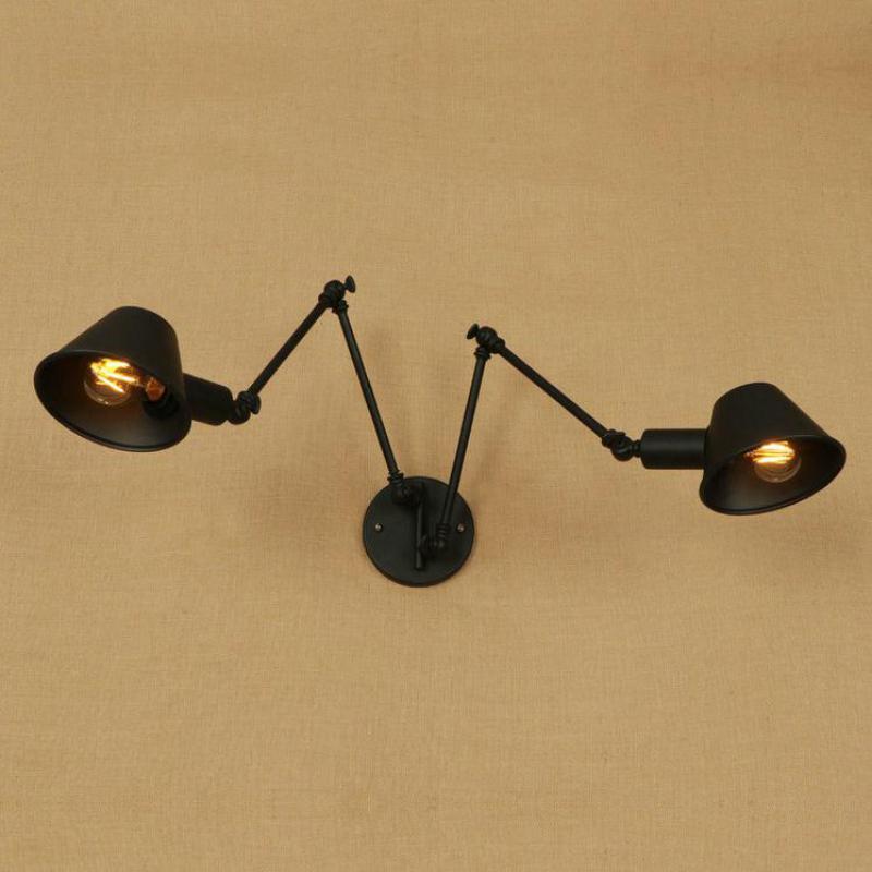 2 arms Black iron Wall light sconce for Restaurant Coffee Shop Bedroom Adjustable wall fixtures Retro vintage Wall Lamp Arandela
