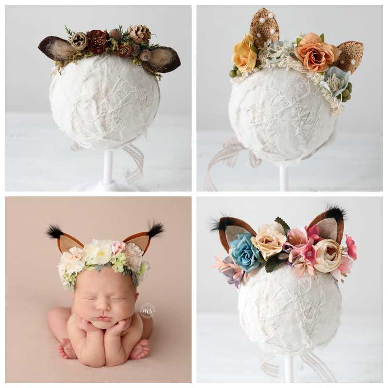 Уши лисы реквизит для новорожденных повязка на голову цветок девочка Фото Halo новорожденный реквизит для фотосъемки первый день рождения Цветочная корона заколка подарок