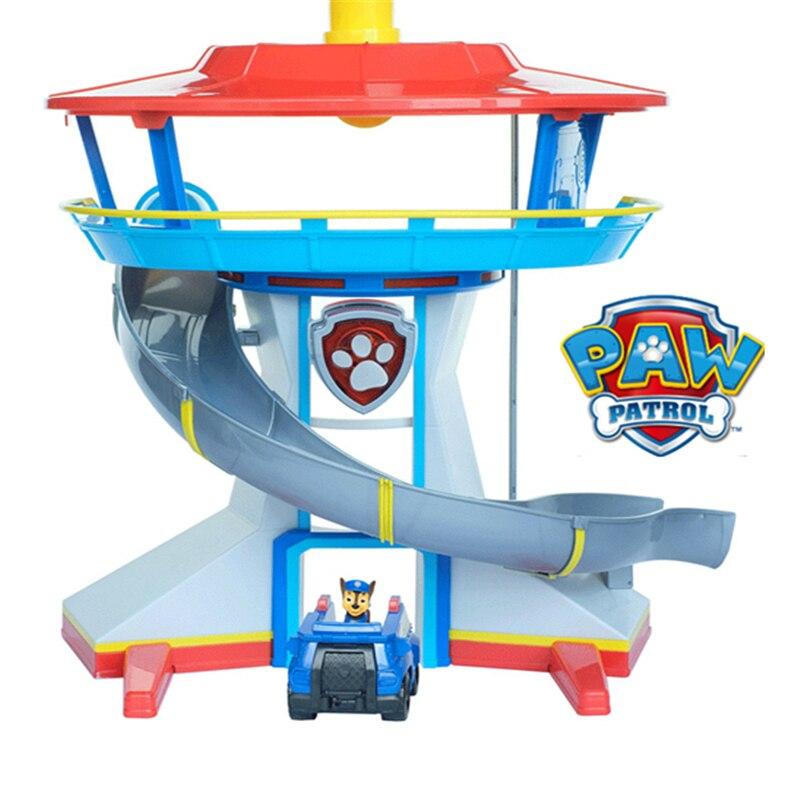 Juguetes de patrulla de patas conjunto de torre de control de luz de sonido Centro de Control de coche azul figuras de acción de perro Ryder modelo de juguete de regalo de los niños-in Figuras de juguete y acción from Juguetes y pasatiempos    1