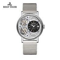 Новый Риф Тигр брендовые модные часы мужские скелетные механические часы из стали браслет ультратонкие часы RGA1995