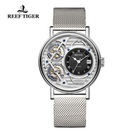 New Reef Tiger Brand Fashion Watches Mens Skeleton Mechanical Watch Steel Bracelet Ultra Thin Watches RGA1995