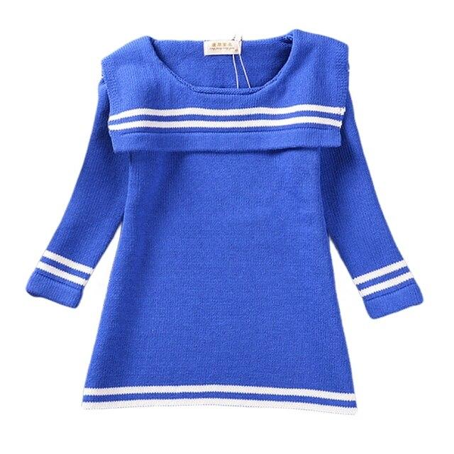 9f68339b5392ac Meisjes Gebreide Katoenen Jurk 2016 Nieuwe Casual Marine Kostuums Trui  Jurken Wit Blauw Drie Kwart Mouw