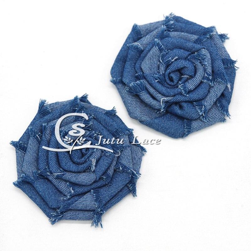 50 pcs lot 3inch denim rose frayed flower shabby denim flower for headband hair fashion acessories