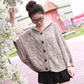 2017 brand new womens winter plus size cable baggy batwing warm sweaters knitted warm oversized button retro ladies bat poncho