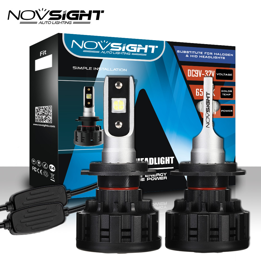 купить NOVSIGHT H4 H7 H11 H1 H3 9005 9006 Car LED Headlight Bulbs Hi-Lo Beam 60W 18000LM 6500K Auto Headlamp Fog Light Bulb DC12v 24 по цене 2271.12 рублей