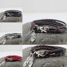 New Fashion Bangles Accessories PU Leather Feather Charm Bracelets Man Bracelet Wristband Charm Braclet For Male Accessories(China)