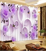 3D Curtains Home Bedroom Decoration 3D Curtain Purple Flowers Round Window Curtains Blackout Curtain Fabric Window
