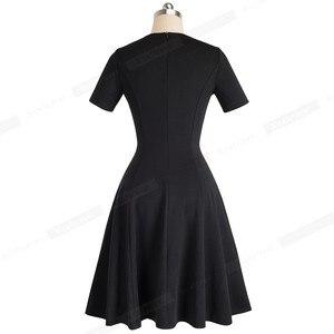 Image 2 - 니스 영원히 빈티지 우아한 라운드 넥 브리프 퓨어 컬러 vestidos 라인 핀업 비즈니스 파티 여성 플레어 블랙 드레스 A110