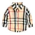 2016 nova chegada do bebê meninos camisas primavera verão blusa de algodão de mangas compridas crianças popular inglaterra crianças xadrez roupas 2-8 T