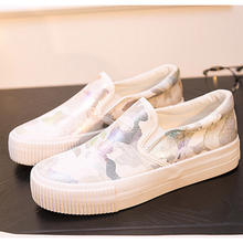 platform Arrival Spring Women Fashion Canvas Casual Shoes Zip Graffiti Zapatos Mujer Foot Zapatillas Deportivas flat shoes z156