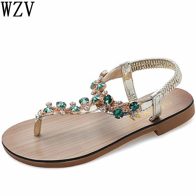 Sandals Women 2019 Bohemia Fashion Rhinestone Thong Sandals Beading Casual Women Flat Beach High quality Sandals E584