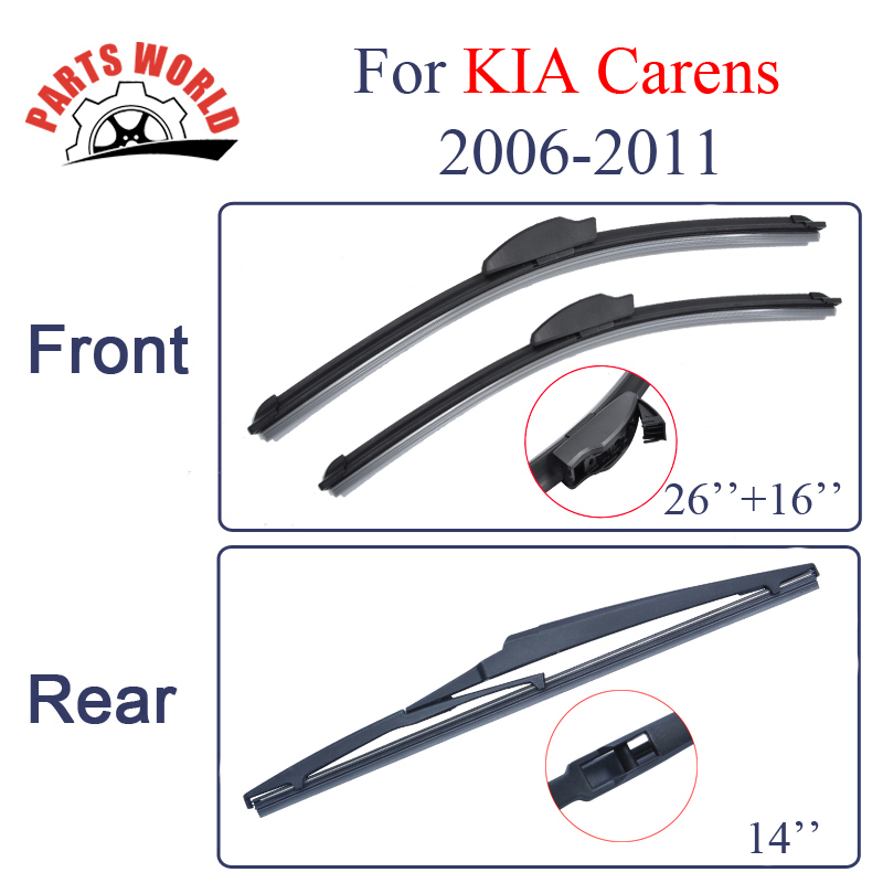 Front And Rear Wiper Blades For KIA Carens 2006 2011 Windscreen Wipers Car Accessories clean the windshield|wiper blade|rear wiper blade|rear wiper - title=