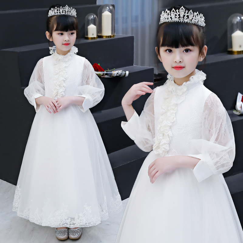 Girls Children Piano Pageant Princess Dress 2018 Long Sleeves Girls Teens Birthday Wedding Party Princess White Color Dress Girls Children Piano Pageant Princess Dress 2018 Long Sleeves Girls Teens Birthday Wedding Party Princess White Color Dress