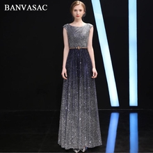 BANVASAC 2018 O Neck Gradient Sequined A Line Long Evening Dresses Elegant Lace Party Crystal Sash Backless Prom Gowns цена