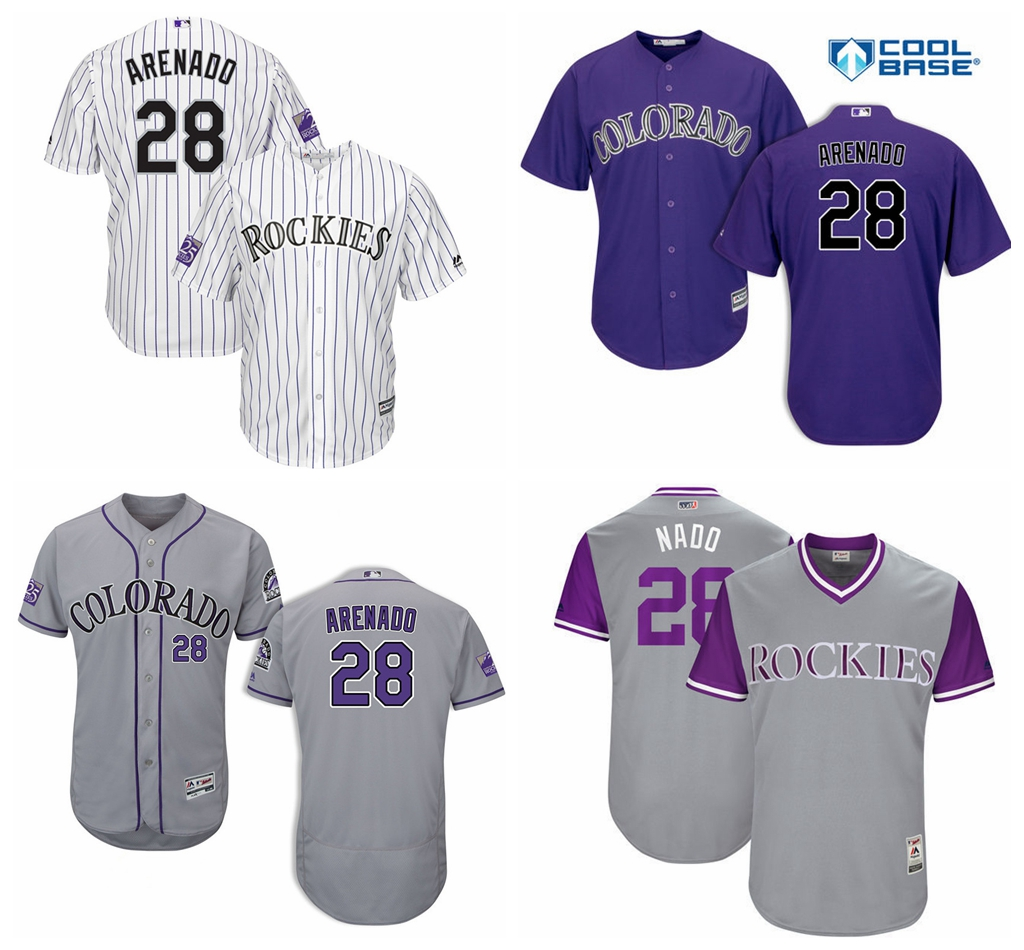 Men's Colorado Rockies Nolan Arenado Baseball White/Purple Home Official Cool Base Player Jersey