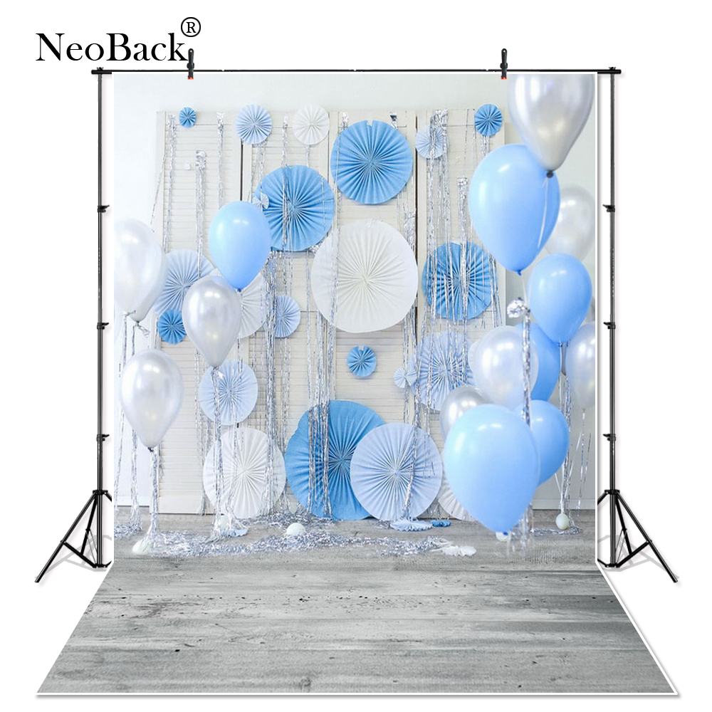 NeoBack Vinyl Cloth New Born Baby Photography Backdrop Blue Balloon Wedding Children Birthday Studio Photo backgrounds P1604 kate 5x7ft photo background new born baby photo birthday backdrop 1st birthday blue balloon backdrop for children photo studio