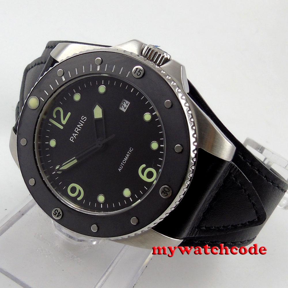 лучшая цена 43mm Parnis black dial Sapphire Glass ceramic bezel Automatic mens Watch P390B