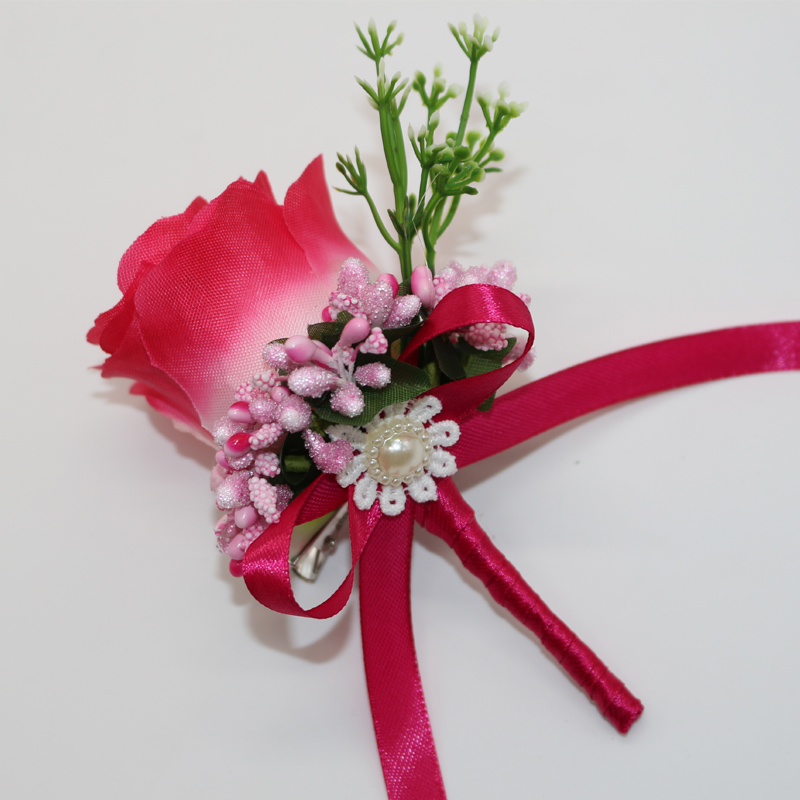 Wedding Flowers Men: Best Man Groom Boutonniere Red Silk Satin Rose Different