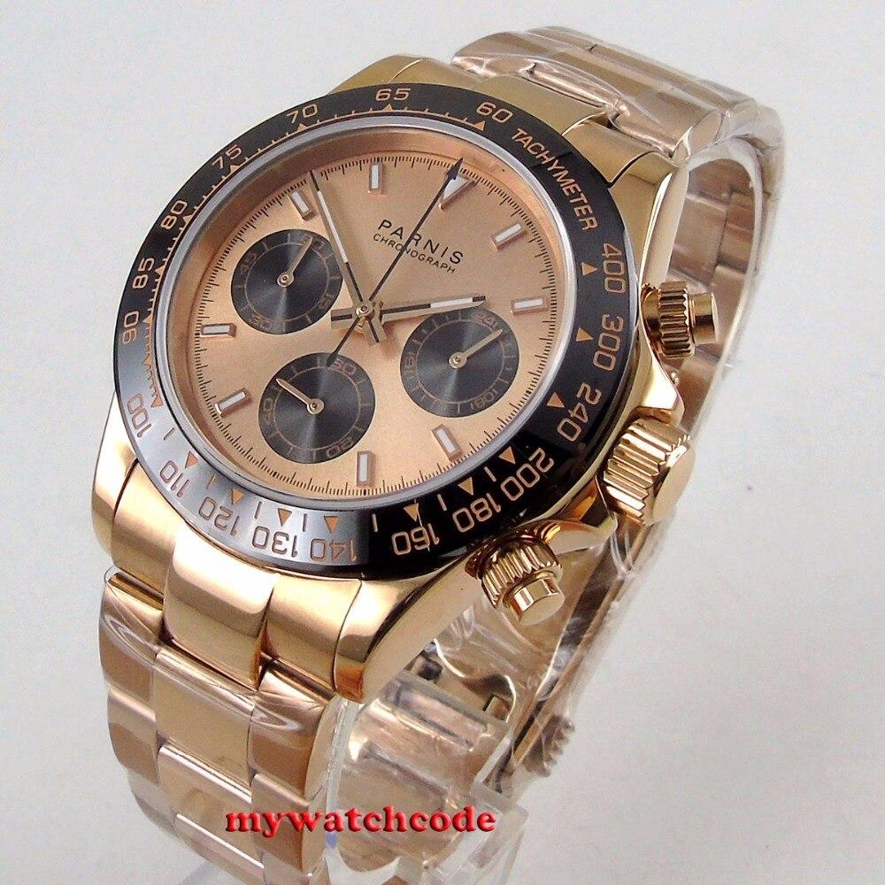 Новое поступление 39 мм PARNIS черный циферблат сапфир розовый золотой полный хронограф Мужские кварцевые часы