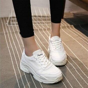 2018 Wanita Sepatu Kets Putih HITAM PINK Platform Sepatu Kasual Wanita Wanita Keranjang Femme Pelatih Zapatillas Deportivas Mujer