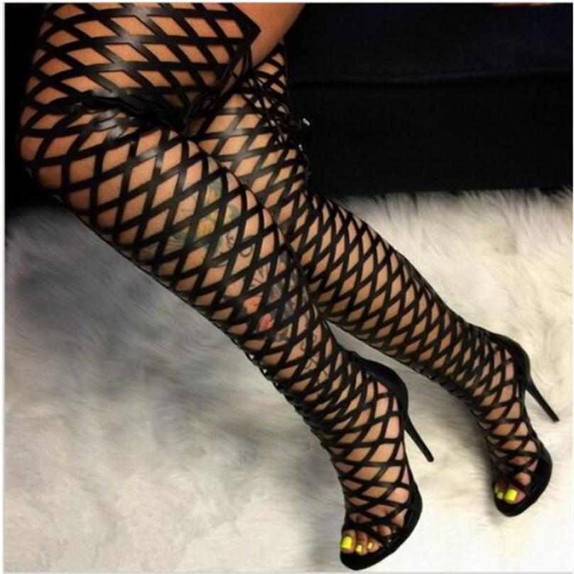 DiJiGirls Roman Sandals Women Over The Knee High Boots Fetish Lady's Med Stiletto Boots Sexy Cut Out Gladiator Shoes Woman cut out knee leggings