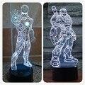Горячая Творческий 3D LED Железный Человек Акриловая 3 Стиль Атмосфера Лампы новинка Освещение Белый Цвет Настольная Лампа Любителей Аниме Собирать Игрушки