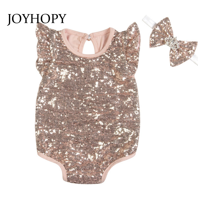 Baby Rompers 2PCS(Romper+Headband) Sequins Newborn Baby Clothes Baby girls Clothing Infant Jumpsuits Cute Baby Clothes set