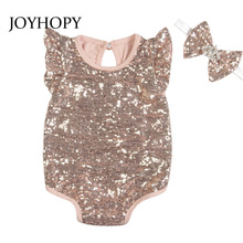 Macacão de bebê 2 pçs (macacão + bandana) lantejoulas roupas de bebê recém nascido roupas do bebê meninas roupas infantis macacões bonitos do bebê conjunto