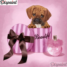 Dispaint Full Square/Round Drill 5D DIY Diamond Painting Dog gift box animal 3D Embroidery Cross Stitch 5D Home Decor A12299 dispaint full square round drill 5d diy diamond painting animal hedgehog 3d embroidery cross stitch 5d home decor gift