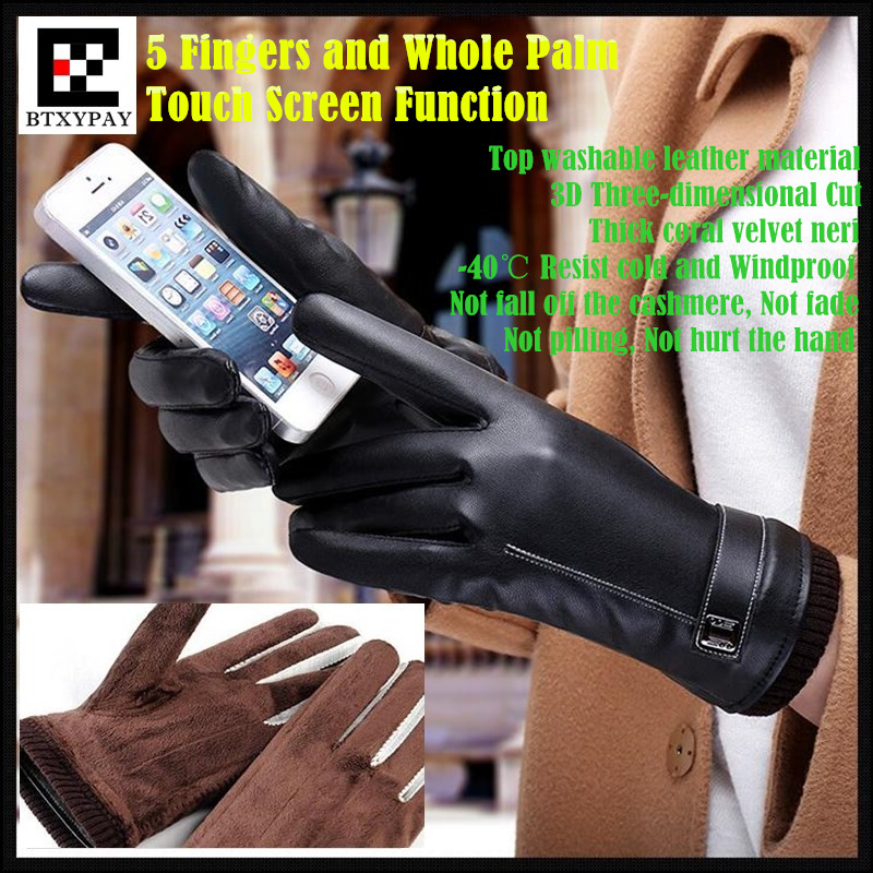 200p!Men&Women Couple Winter Warm Resist Cold Cashmere Top Washable Leather PU Gloves,5 Fingers&Whole Palm Touch Screen Gloves
