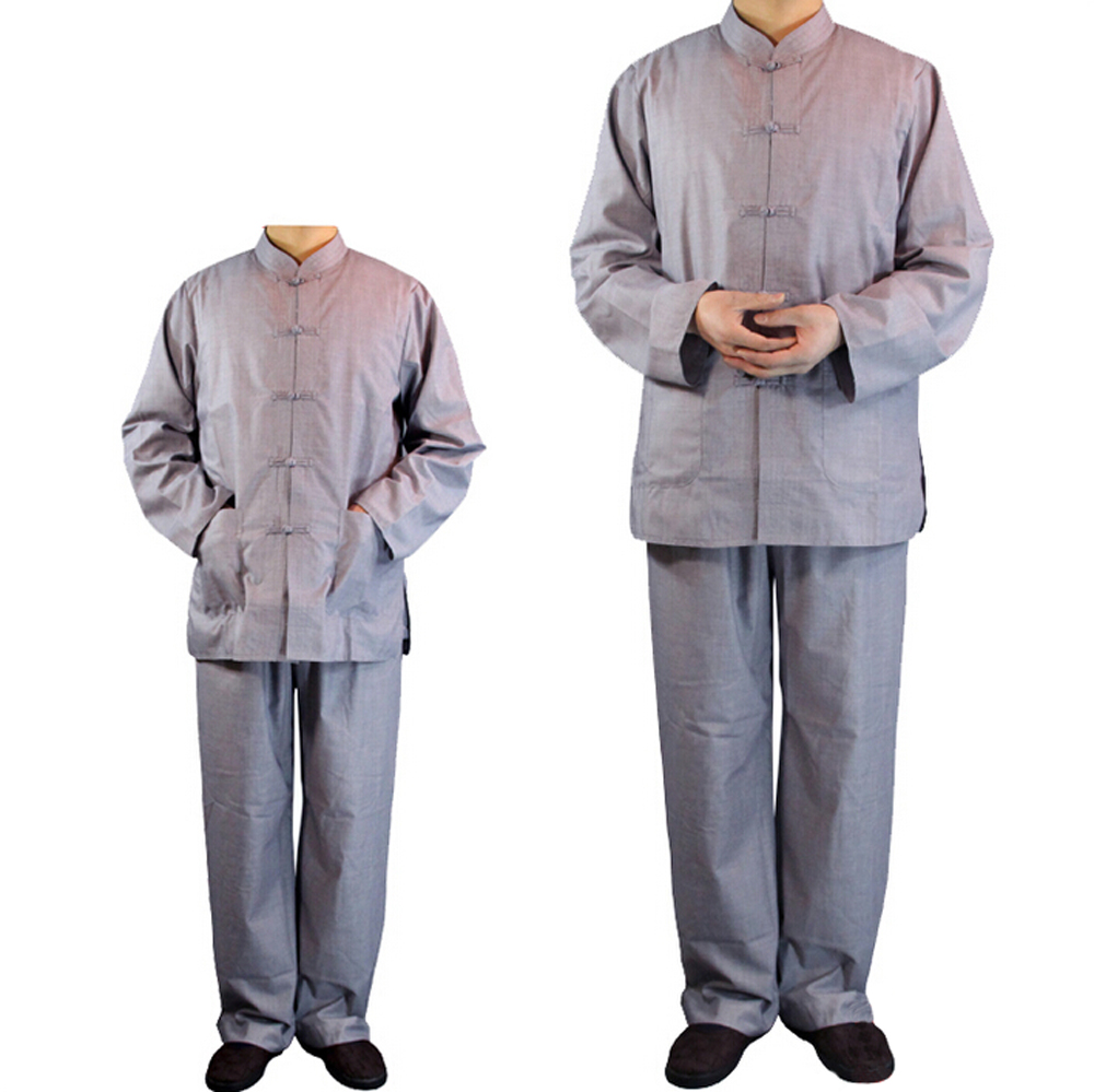 Top Quality Unisex Taoism Monk Costume Long Sleeve Suits Shirt and Pant Lay Chinese Stand-collar Uniforms Wushu Sets stand collar color block and stripe splicing design long sleeve t shirt for men