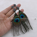 Women ethnic LONG earrings fashion handmade peacock feather earrings  vintage bohemian feathers earrings  drop earrings 535