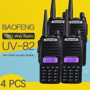 Image 1 - 4 Stuks Baofeng UV 82 Walkie Talkie 5W 8 W U/V Baofeng Uv 82 Headset Walkie Talkie 10 Km Baofeng UV82 8 Watt Radio Uv 9r Ham Radio