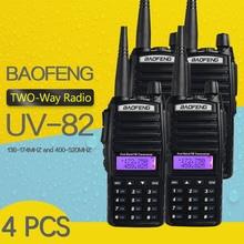 4 pezzi BaoFeng UV 82 walkie talkie 5W 8 W U/V Baofeng UV 82 cuffie Walkie Talkie 10 KM Baofeng UV82 8 Watt radio uv 9r ham radio