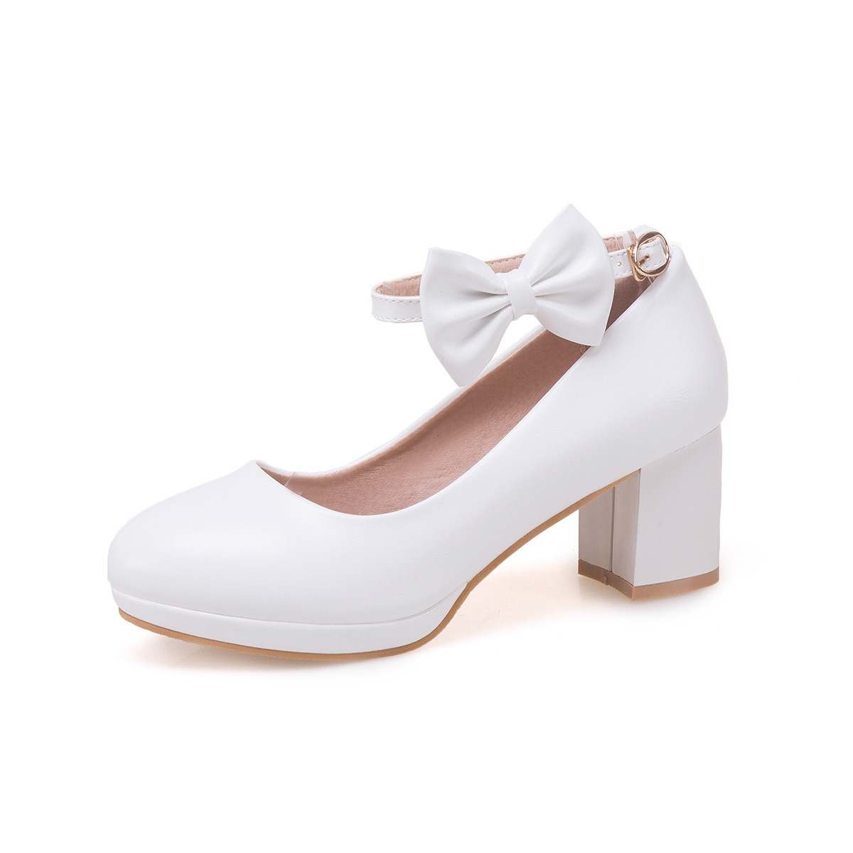 Fashion! Student Dance Shoes High-heeled Bow Knot Shoes Size 30-36 for bigger girl Kid Leather Shoes Flower Girls Shoes White