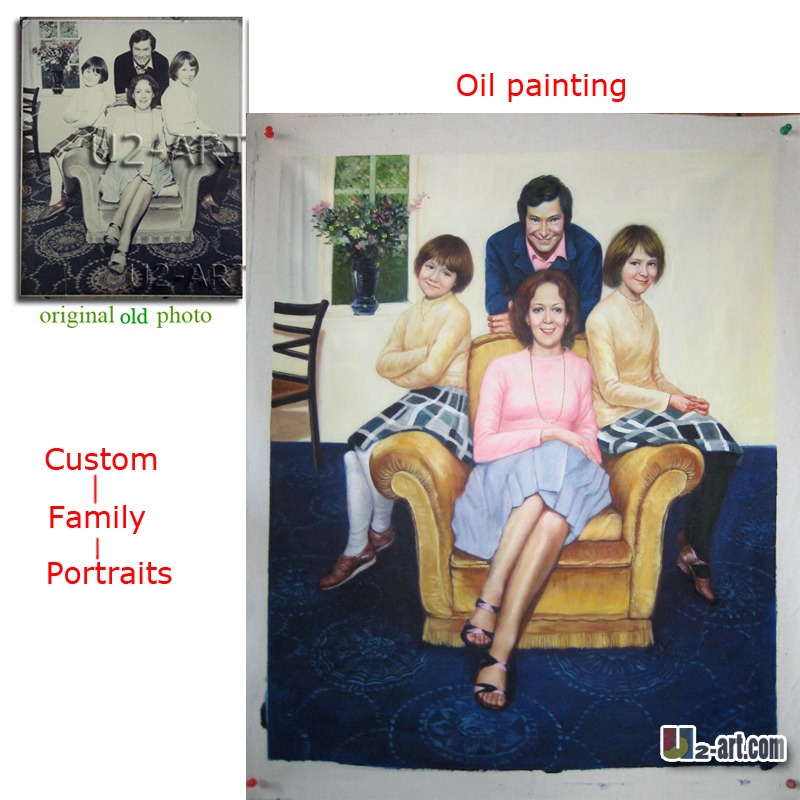 Family photo picture reproduction custom portrait oil painting high quality handpainted pictures for living room decorationFamily photo picture reproduction custom portrait oil painting high quality handpainted pictures for living room decoration
