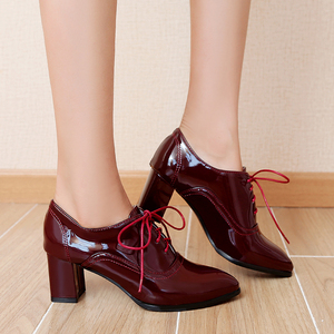Image 5 - Brand 2020 Spring Fashion Women Ankle Boots Block Heels Oxford Shoes Women Casual PU Leather Black Red Ladies Shoes Large Size