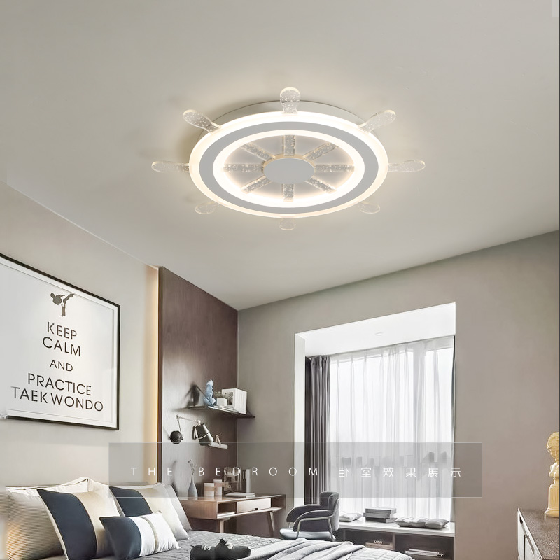 Modern Kids Room LED Ceiling Lights AC85~260V Rudder lampara de techo children bedroom decor lighting ceiling lamp for baby noosion modern led ceiling lamp for bedroom room black and white color with crystal plafon techo iluminacion lustre de plafond