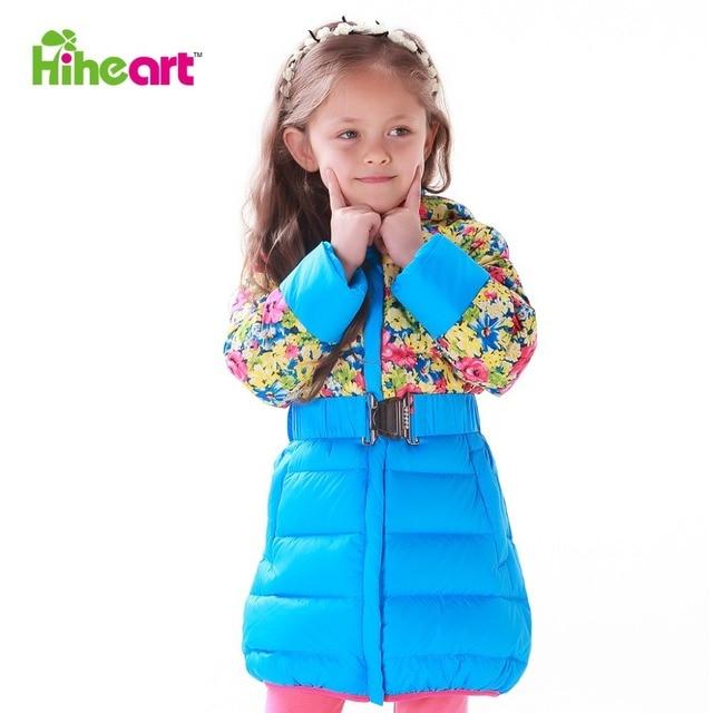 HIHEART 2015 весна детская верхняя одежда пуховик для девочек натуральный утиный пух куртка капюшон парка пояс цветочный рисунок пальто