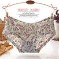 3PCS 2016 Low Waist Sexy Seamless Womens Underwear Floral Printed Ice Silk Briefs Panties For Ladies Women's Briefs KZ239-4