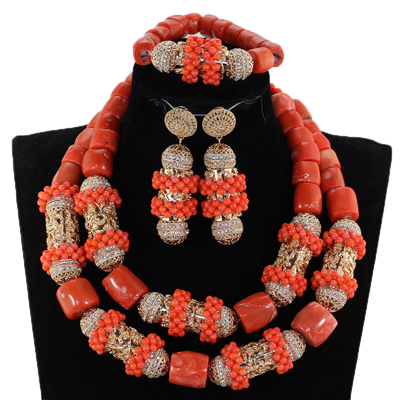New African Coral Beads Jewelry Set for Nigerian Wedding Original Coral and Gold Chunky Bridal Jewelry Set Gift for Women CNR891