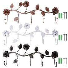 Vintage Iron Rose Leaves Hook Coat colgador de sombreros y bolsos organizador titular de la decoración de la pared #0308 #