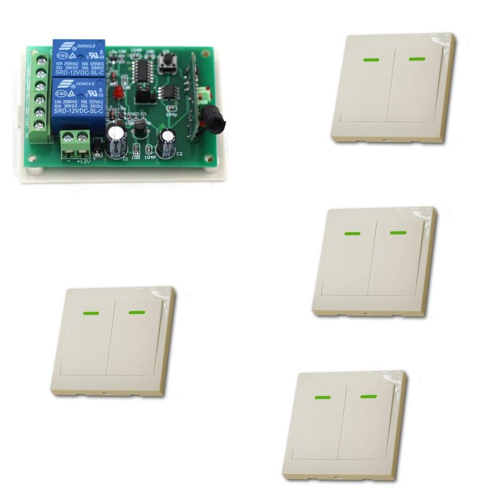 DC 12V Wireless Remote Switch System Radio Controlled Switch Electrical Remote Control Switch Wall Transmitter 315/433Mhz dc24v remote control switch system1receiver