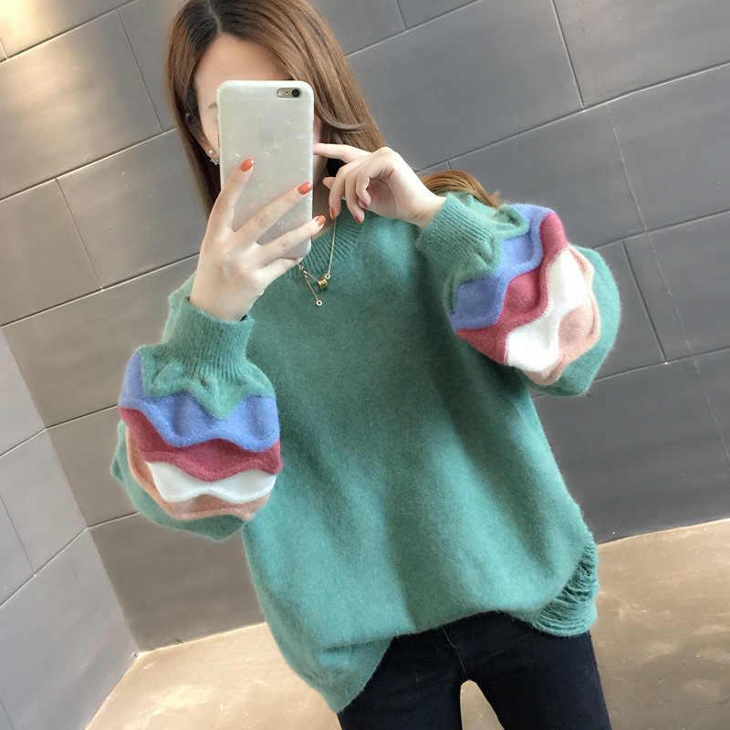 Mulheres Camisola de inverno 2019 de Moda de Nova Lanterna Manga Pulôver Feminino Casual Solta Suéter de Cashmere fêmea Sólida Malha jumpers