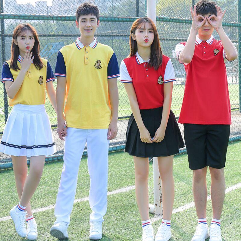 Uniforme scolaire japonais costume pour femmes hommes lycéens classe vêtements tenue de sport été t-shirt bleu marine jupe blanche