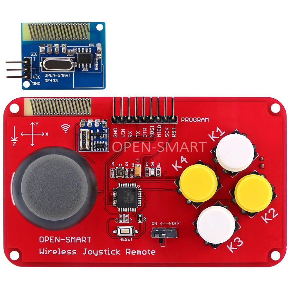 цена PS2 Joystick Keypad RF 433MHz Wireless Joystick Game Remote Controller Module Transceiver Kit for Smart Car / 4-axis Aircraft