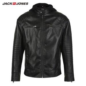 Image 5 - JackJones ผู้ชาย Hooded PU เสื้อหนัง Slim fit Casual Coat Outerwear Biker Hoodies บุรุษ 218321558